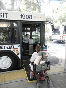 wheelchair on bus ramp
