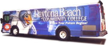 bus decorated with advertising message