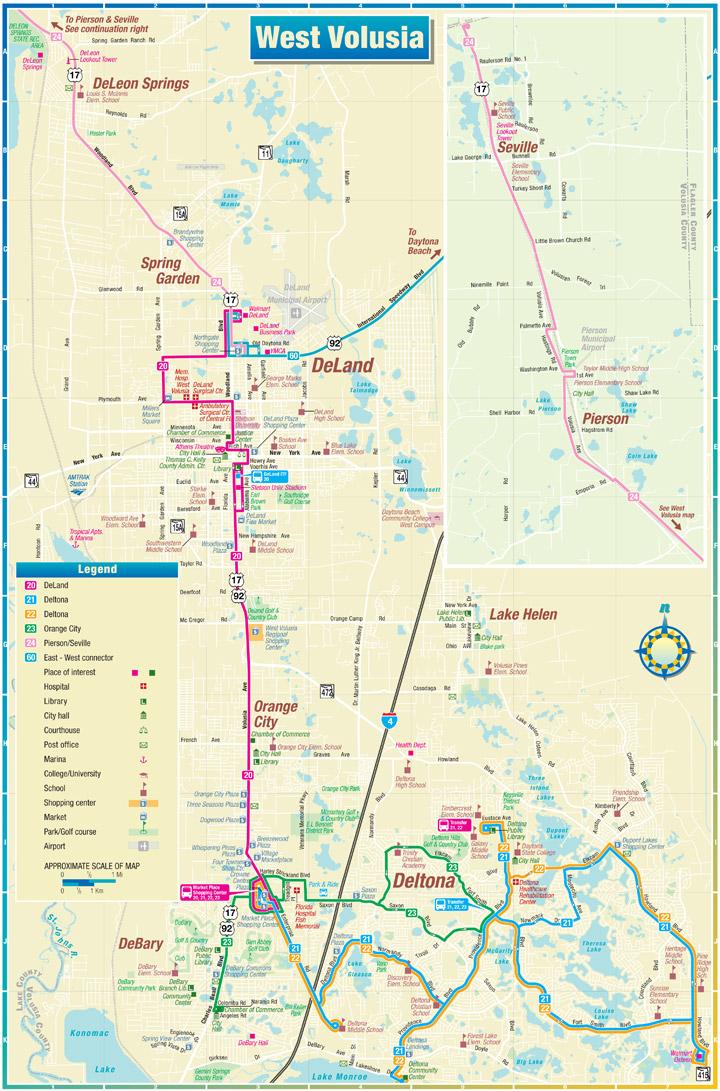 West Volusia Route Map